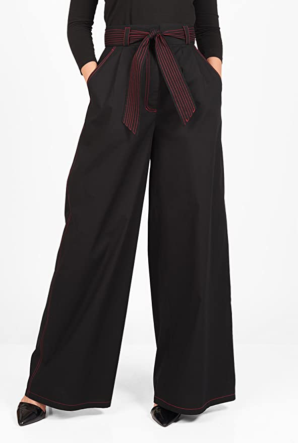 1930s Women's Pants and Beach Pajamas Sash tie poplin palazzo pants $52.95 AT vintagedancer.com