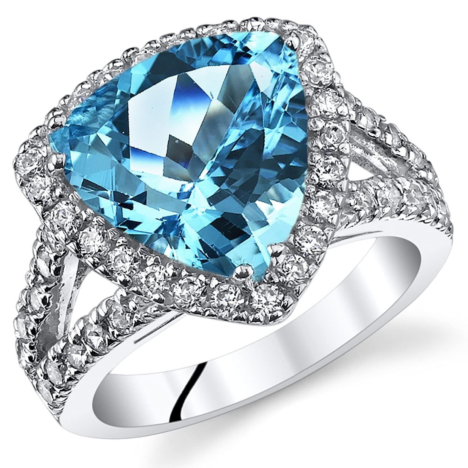 5.00 Carats Trillion Cut Swiss Blue Topaz Cocktail Ring Sterling Silver Sizes 5 to 9