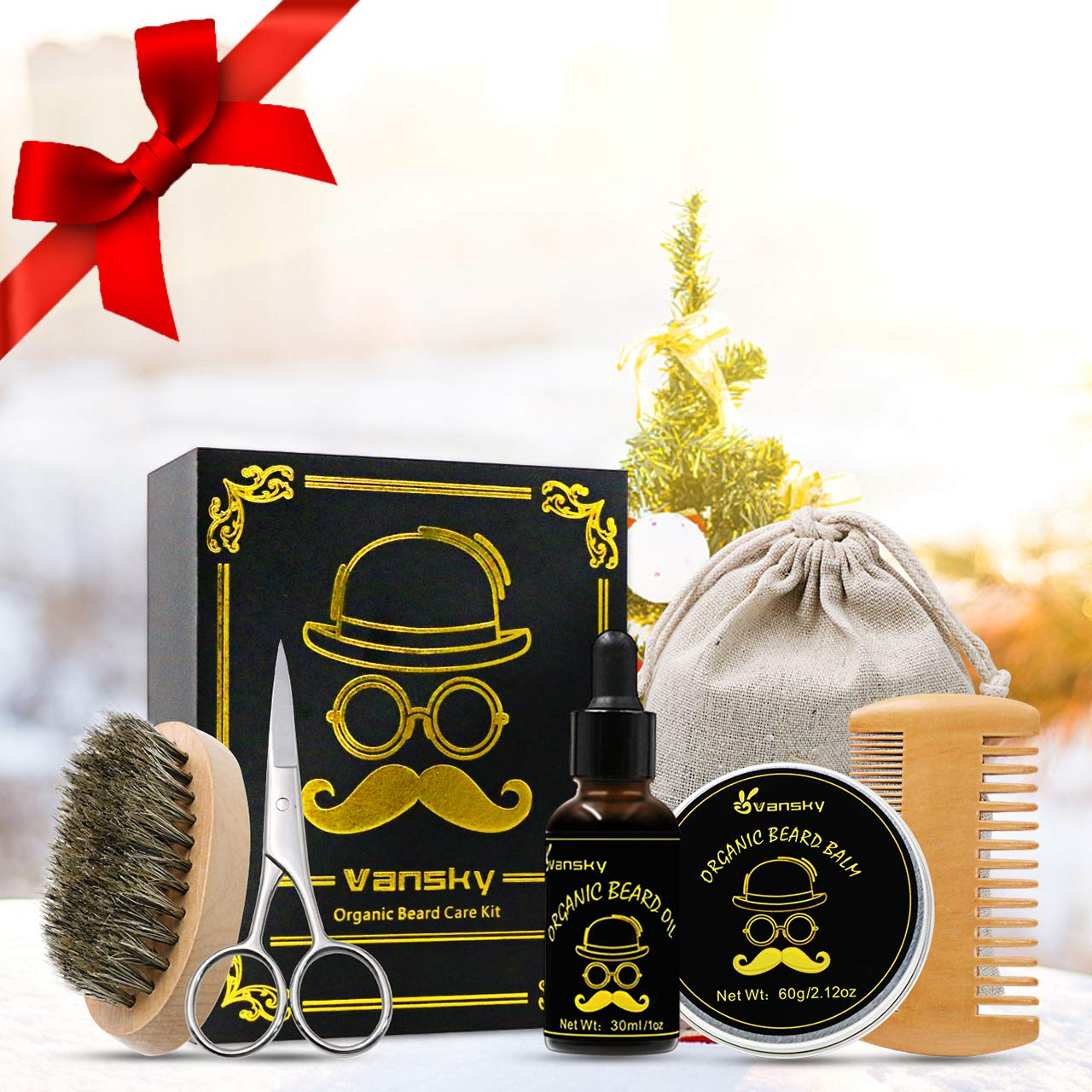 Beard Grooming Trimming Kit,Beard Growth Care Kit Including Beard Balm,Unscented Beard Oil,Mustache Brush,Beard Scissors,Beard Comb-Best Men's Gift