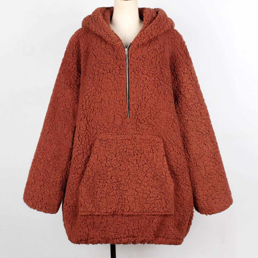 URIBAKE ❤ Womens Coat Winter Autumn Warm Artificial Wool Hooded Zipper Pockets Sweatshirt Ladies Parka Outerwear at Amazon Womens Clothing store: