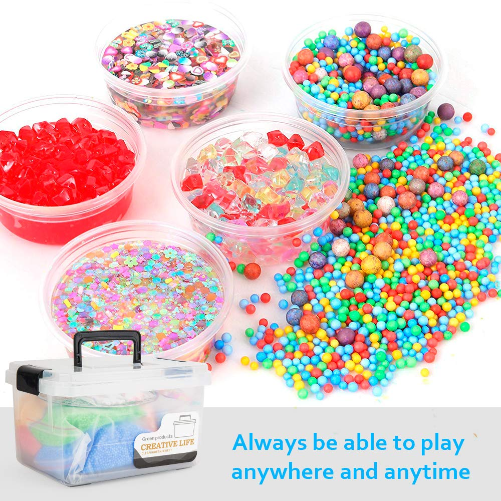 Include Fishbowl Beads Foam Balls Glitter Jars Slime Beads Charms Slime Supplies Kit Slime Tools 93 Simulation Ice Colorful Foam Beads Drop Water Plum Blossom Love Smiley face Slices