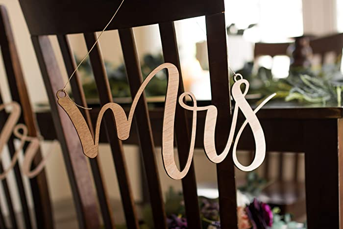 Amazon.com: Wood Mr and Mrs Rustic Wedding Chair Signs - Wedding ...