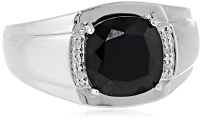 334407814f1 Men's Sterling Silver Onyx and Diamond-Accented Ring, Size 10.5
