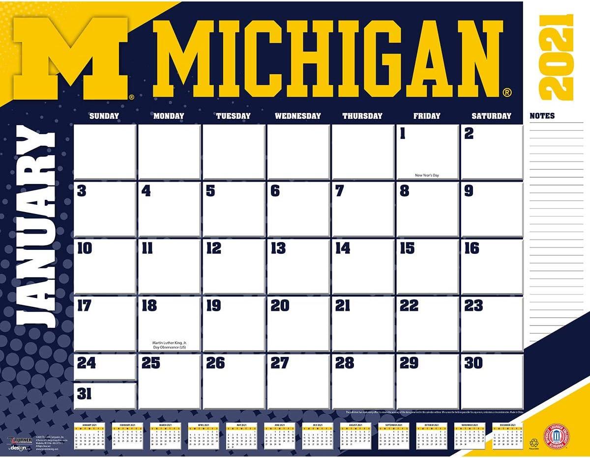 University Of Michigan Calendar 2022.Amazon Com Turner Sports Michigan Wolverines 2021 22x17 Desk Calendar 21998061483 Office Products