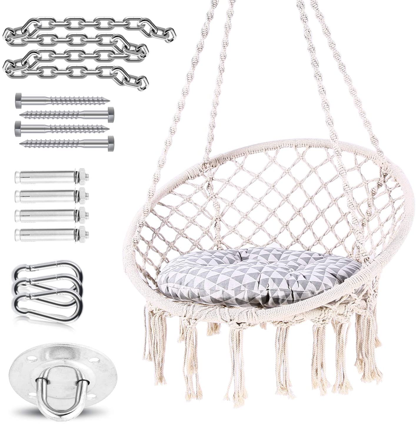 Ohuhu Hammock Chair Hanging Chair Swing with Soft Cushion Durable Hanging Hardware Kit, 100 Cotton Rope Indoor Macrame Swing Chairs for Bedrooms, Great Gifts for Birthday Xmas Christmas