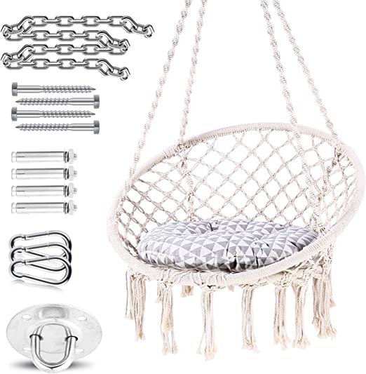 Ohuhu Hammock Chair Hanging Chair Swing With Soft Cushion Durable Hanging Hardware Kit 100 Cotton Rope Indoor Macrame Swing Chairs For Bedrooms Great Gifts For Girls Kids Birthday Amazon Ca Home