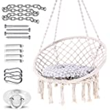 Ohuhu Hammock Chair Hanging Chair Swing with Soft Cushion & Durable Hanging Hardware Kit, 100% Cotton Rope Indoor…