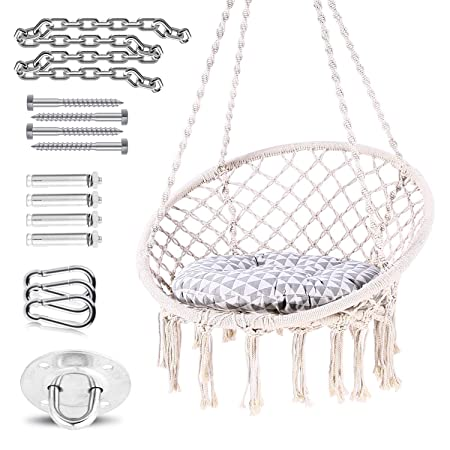 Ohuhu Hanging Chairs for Bedrooms, Hammock Chair Macrame Swing with Hanging Hardware Kit Cushion
