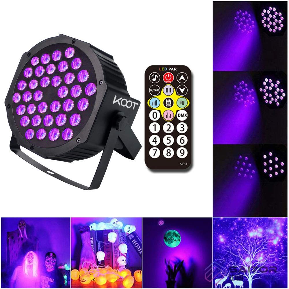 KOOT UV Light 36 LEDs Par Lighting RGB Up Wash Disco Strobe Lights with DMX Control and Remote Control for Karaoke Club Bar Wedding Show(1 pack)