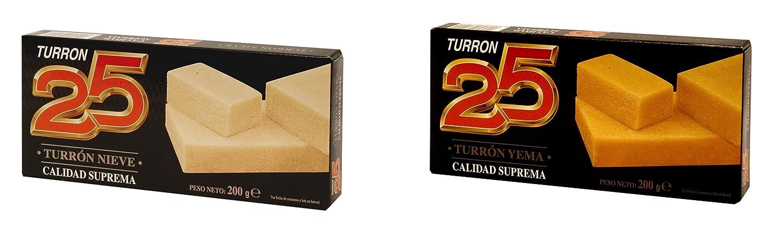 Turron25 - Pack incluye Turron de nieve y Turron de yema - Calidad suprema 200gr: Amazon.es: Alimentación y bebidas