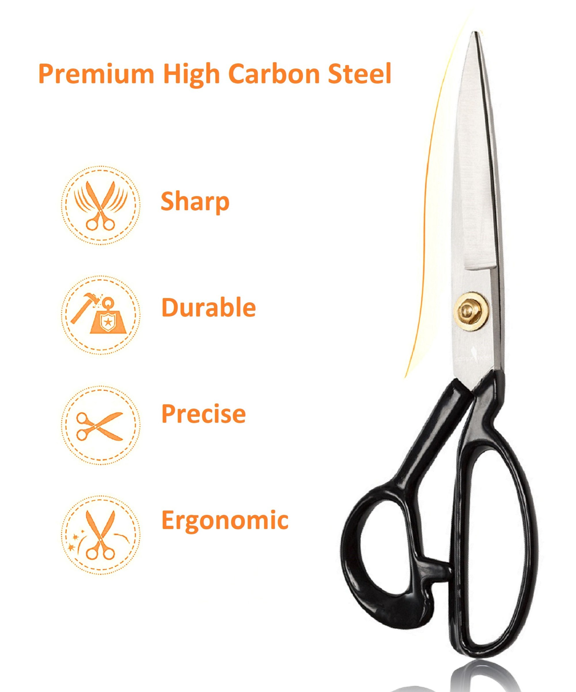 Sewing Scissors Ultra Sharp + Free Craft Knife - 9'' Heavy Duty Professional Shears - All Purpose Scissors: Office & Crafts, Perfect for Seamstress, Tailors, Dressmakers, Students, Artists by Scissor-Tailed