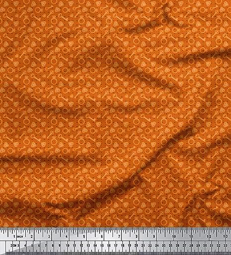 Soimoi Naranja satén crepe japón Tela llavero moda estampada ...