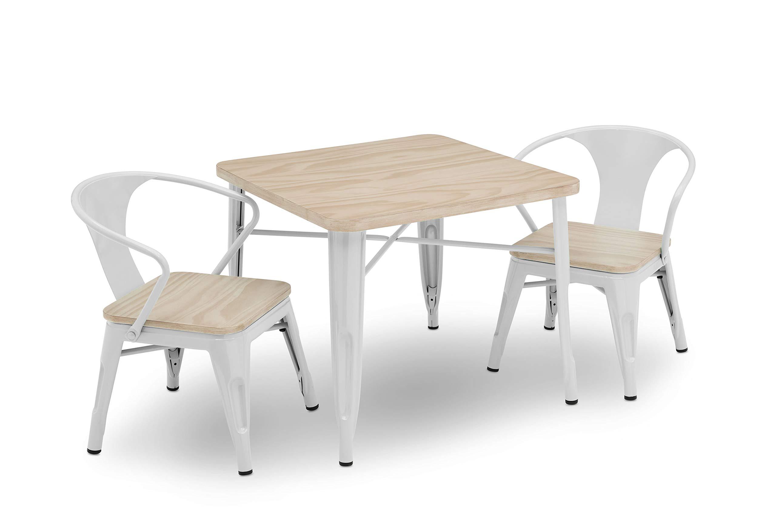 Delta Children Bistro Kids Play Table with 2-Piece Chair Set   White with Driftwood by Delta Children