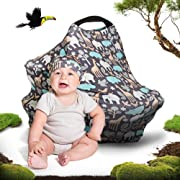 Cool Beans Baby Car Seat Canopy and Nursing Cover | Multiuse - Soft and Stretchy Fabric Easily Covers High Chairs, Shopping Carts, Car Seats | Bonus Infant Baby Beanie and Bag (Zoo)