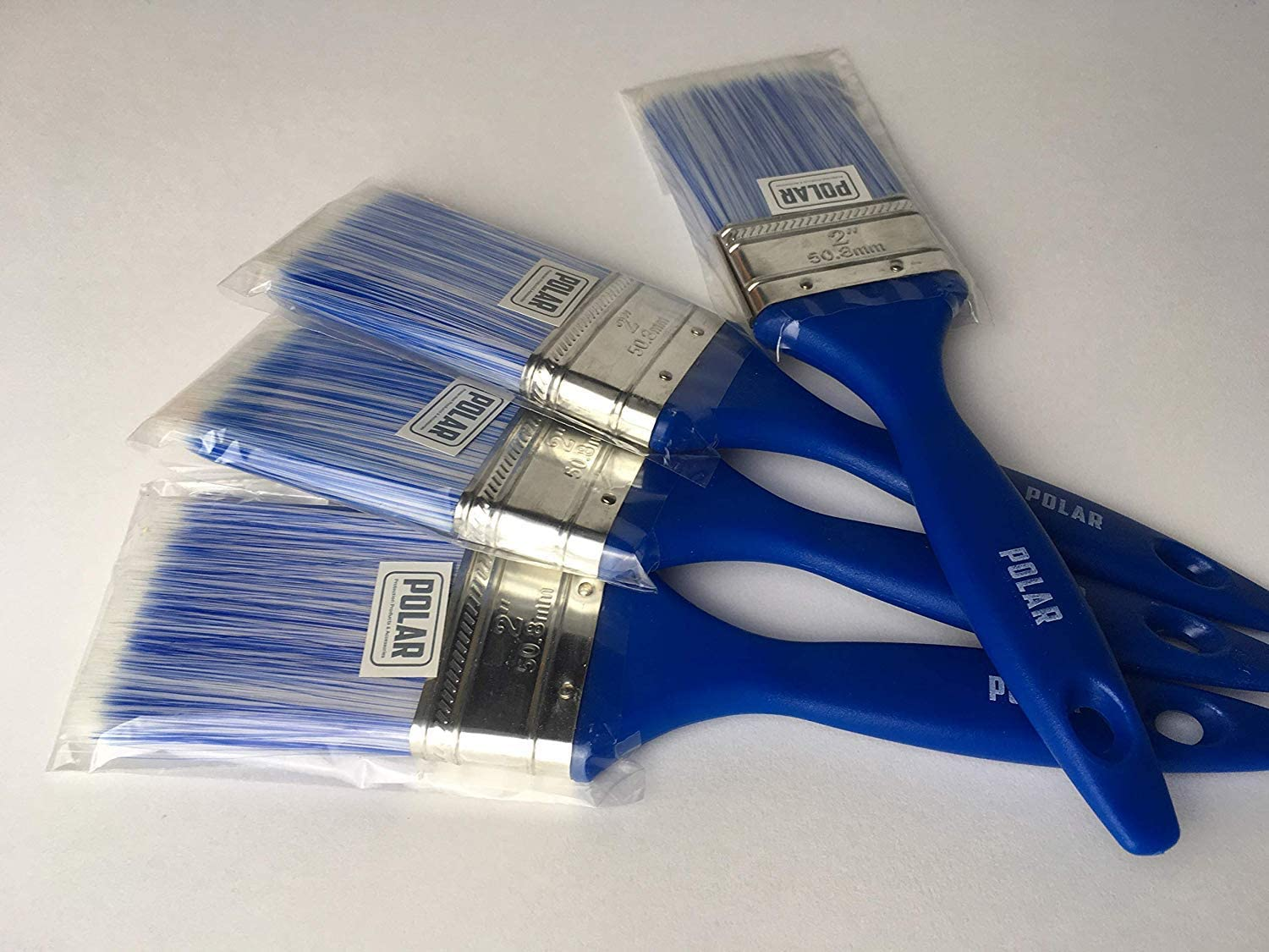 Polar Small Paint Brush Set of 4 for Small Decorating Jobs 4 Brushes are 2 inch Wide Flat Paint Brush 50.8mm