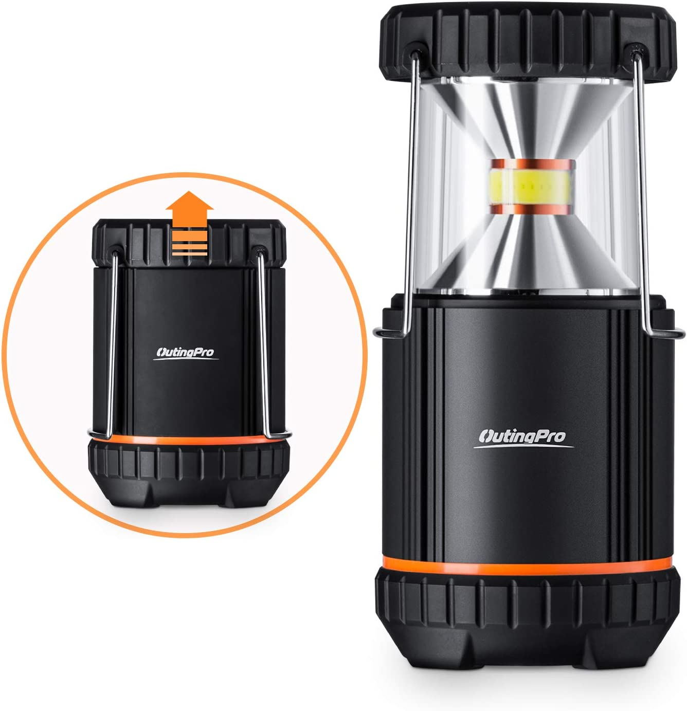 OutingPro LED Camping Lantern, 2 Pack COB Light Ultra Bright Collapsible Lamp Battery Operated Waterproof Portable Hanging Flashlight for Emergencies, Outdoor, Hurricanes, Outages, Storms