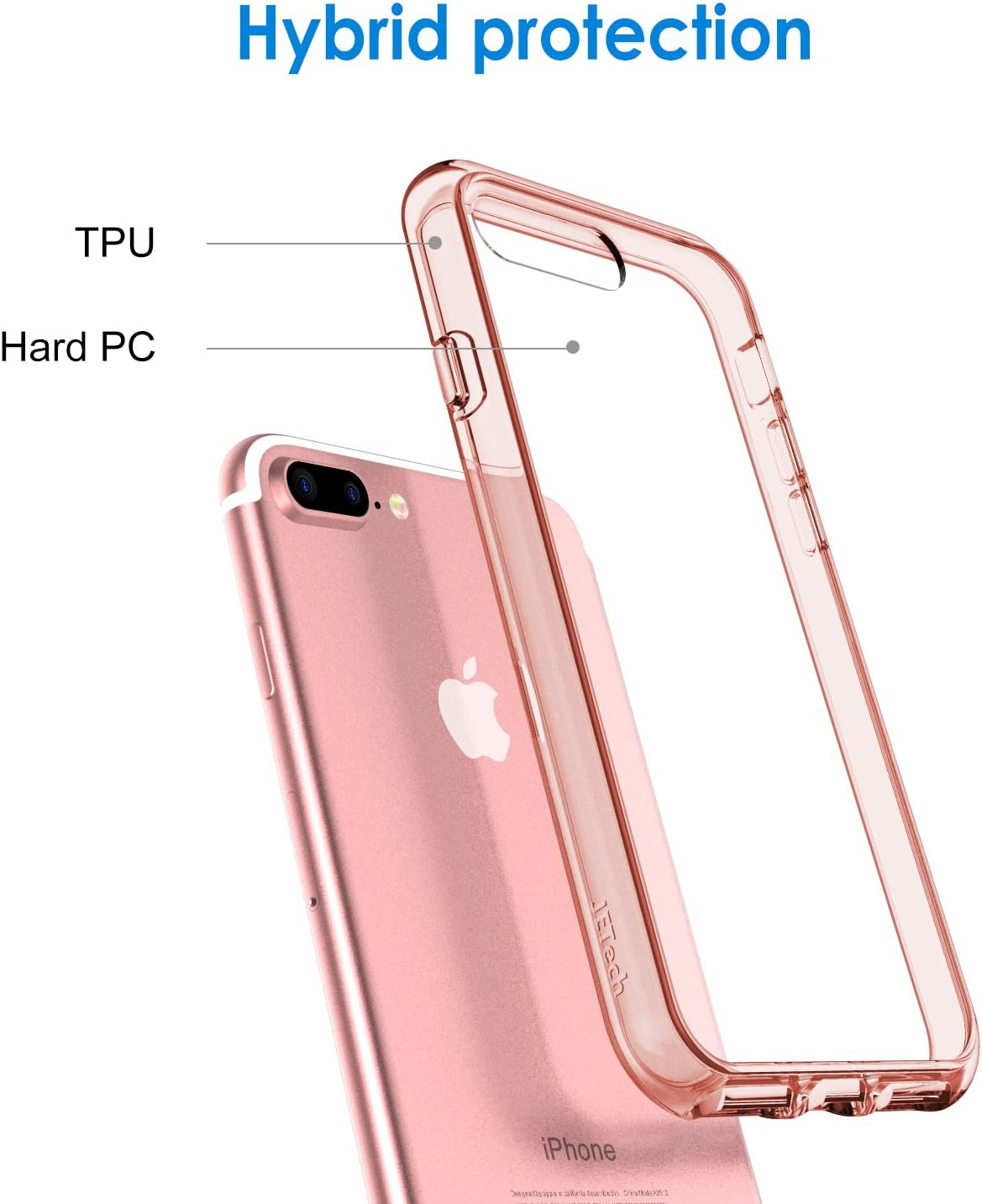 Shock-Absorption Bumper Cover Anti-Scratch Clear Back Black JETech Case for Apple iPhone 8 Plus and iPhone 7 Plus