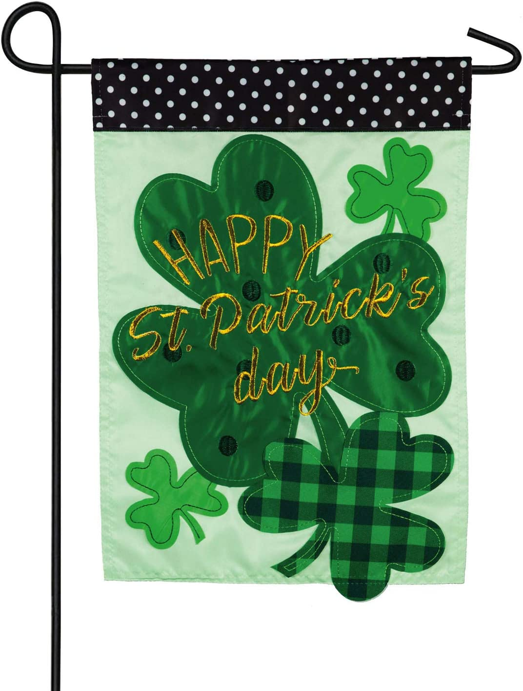 Evergreen Flag St. Patrick's Day Shamrocks Garden Burlap Flag - 12.5 x 18 Inches Outdoor Decor for Homes and Gardens