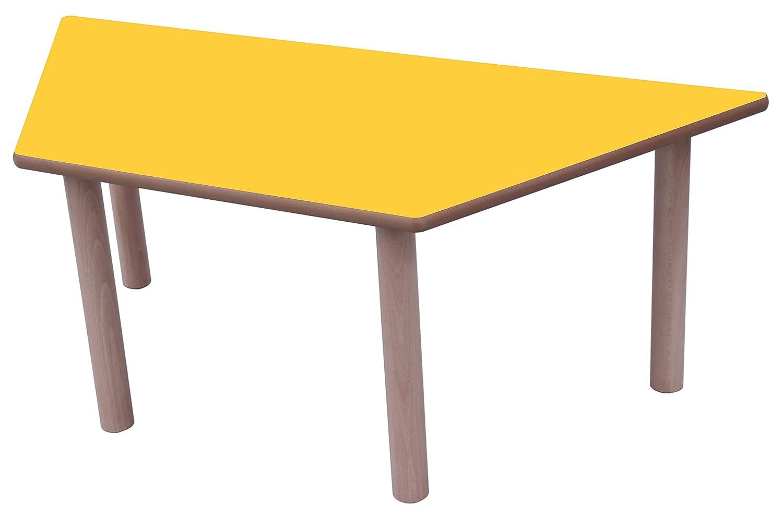 Mobeduc Mesa Infantil Trapecio 120x60 cm (Talla 3), Haya, Haya y Amarillo, 120 x 60 cm