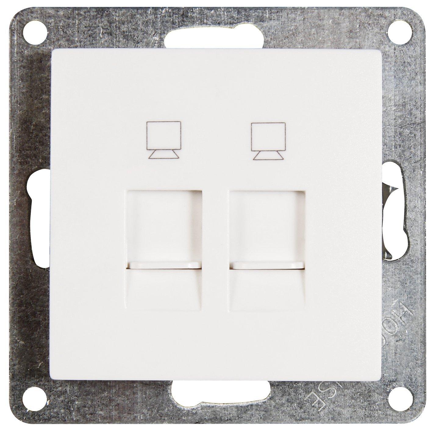 FLAIR Netzwerkdose weiß , 250V~/10A, UP, 2x RJ45 ETT 1534849