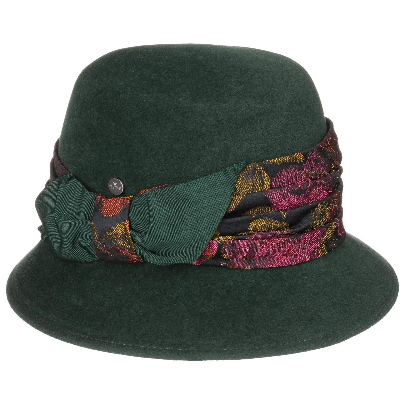 Made in Italy Herbst-Winter Lierys Haarfilzhut mit Brokatgarnitur Damenhut Filzhut Damenglocke Filzglocke Winterhut Damen