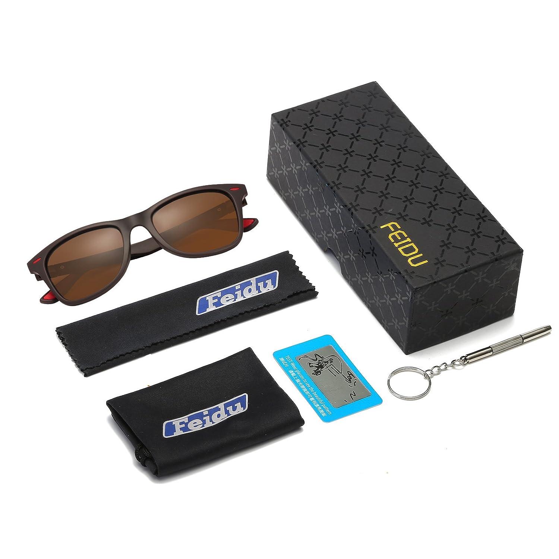 dfe8ca6cb6 FEIDU Gafas de sol para hombre Wayfarer Polarizadas Gafas de sol Wayfarer  para hombre Mujer FD4050 (marrón, rojo): Amazon.es: Ropa y accesorios