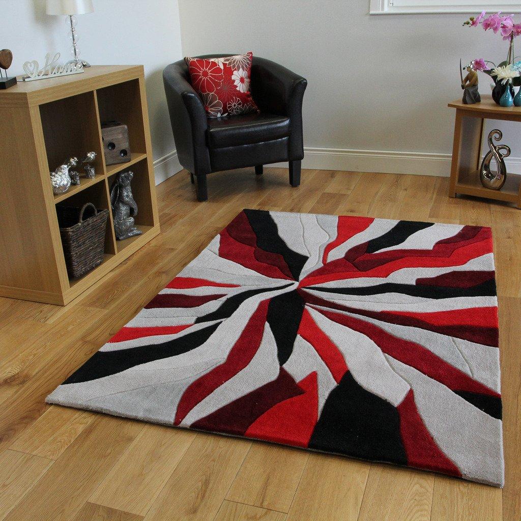 The rug house tappeto ultra moderno rosso nero e grigio design astratto tessuto spesso morbido 3 misure amazon it casa e cucina