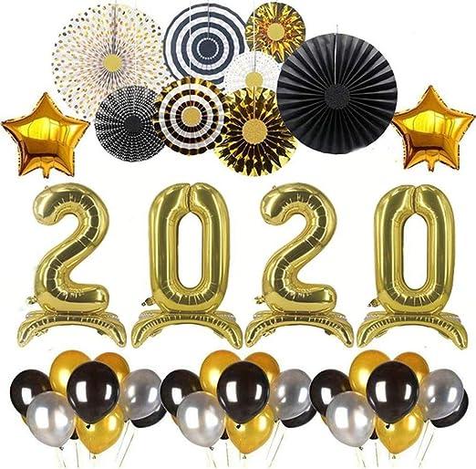 Mississ - Kit de Globos para el año 2020, Globos de látex Dorado y ...