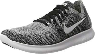 Nike Women's Free Rn Flyknit 2017 Black/White Volt Running Shoe