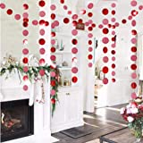 Glitter Red Circle Dots Garland Kit for Xmas Party Hanging Decoration/Streamers/Flag/Banner/Christmas Tree Garlands for…