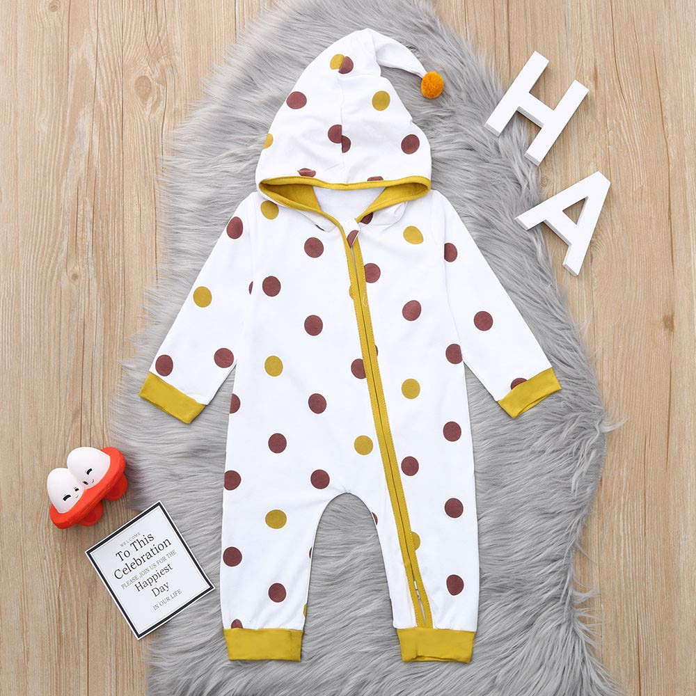 KaiCran Unisex Baby Winter Clothes Cute Polka Dots Long Sleeve Onesies Jumpsuits Romper Hooded Hoodie