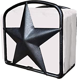 Black Rustic Texas Star Napkin Holder - Country Farmhouse Iron Metal Primitive Kitchen Countertop Napkin Holders, Western Style Stand for Napkins, Perfect Table Counter Decor for Home (Napkin Holder)