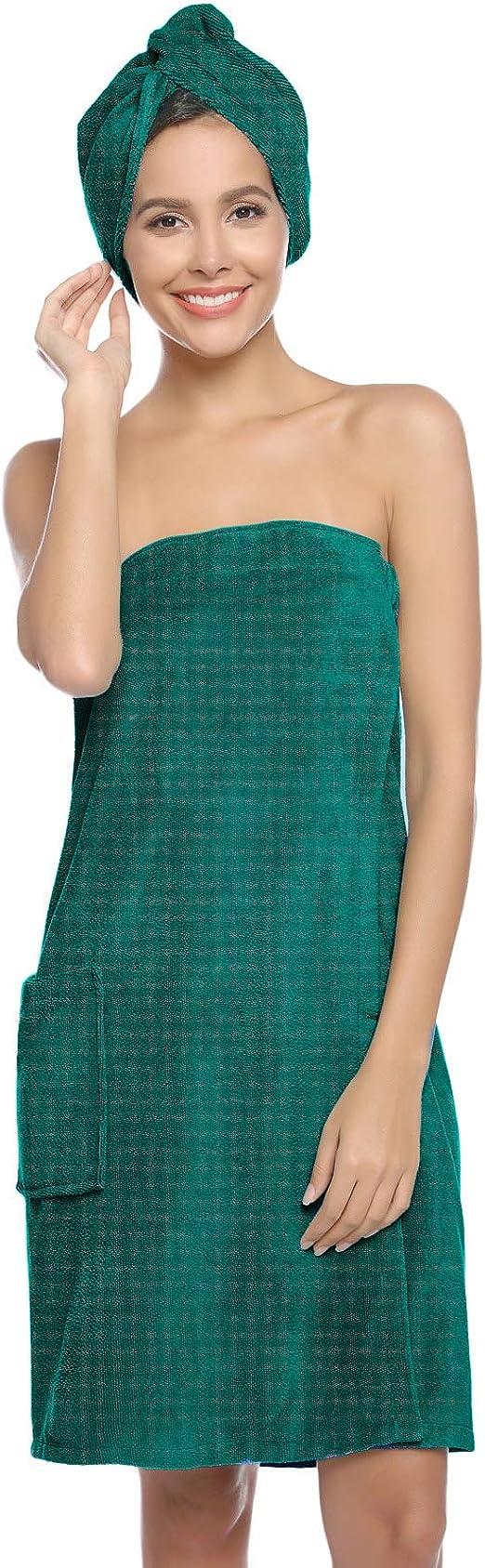 Womens Girl Shower Body Spa Bath Wrap Towel Headband Set Bathrobe Bath Robe LT
