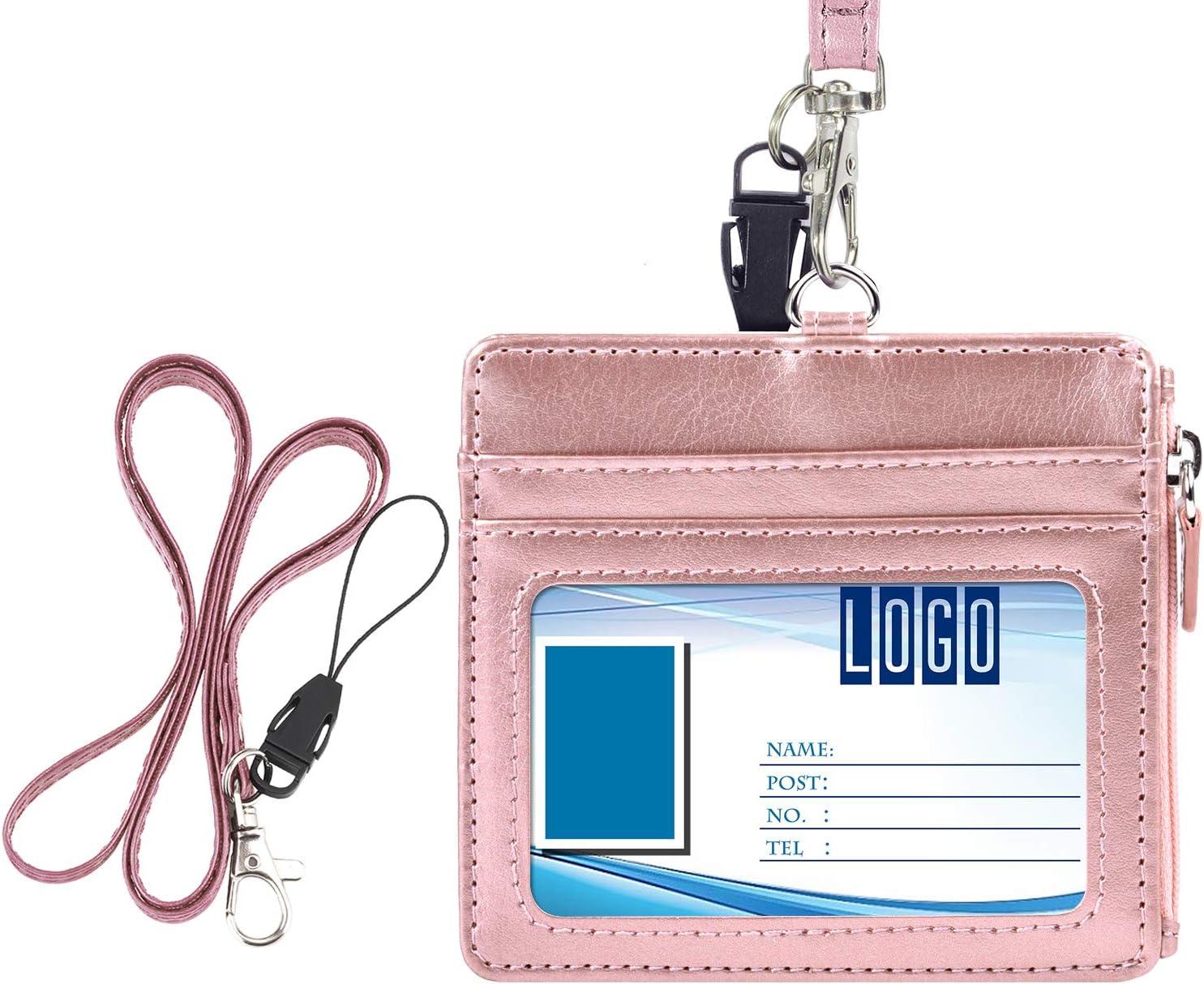 1 poche zipp/ée sur le c/ôt/é et 1 lani/ère tour de cou de 48 cm violet 4 fentes pour cartes Wisdompro/® Porte-badge horizontal en similicuir avec 1 fen/être pour carte d/'identit/é