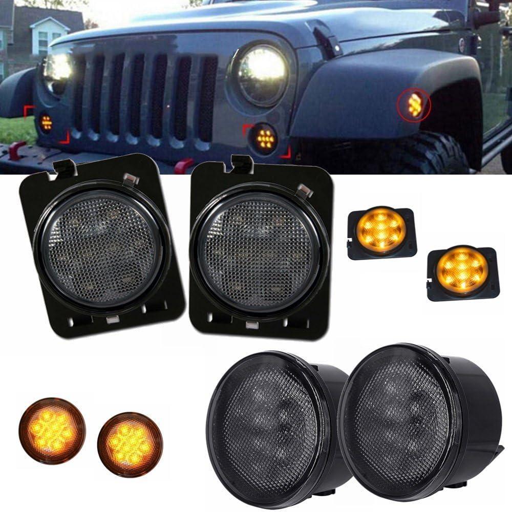 XuBa Ambra LED indicatori di direzione luci Smoke Lens parafango Sidelight Strumento per Jeep Wrangler JK