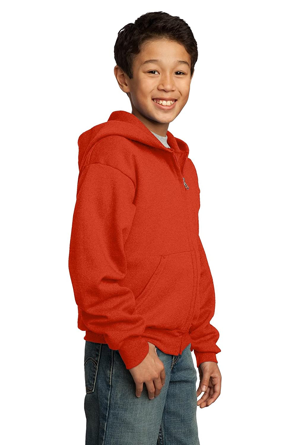 Port /& Company Youth Full Zip Fleece Hooded Sweatshirt