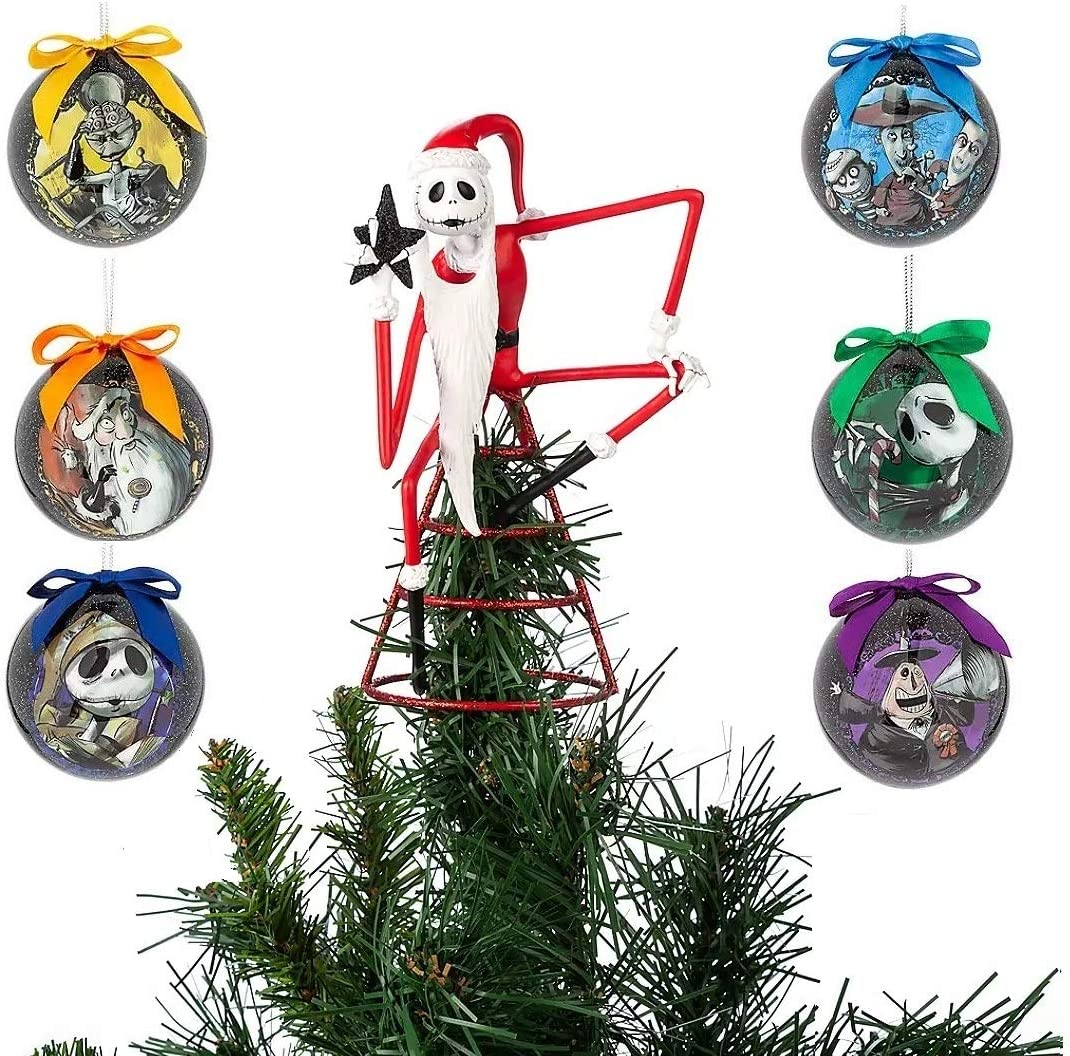 Amazon Com The Nightmare Before Christmas 7 Ornament Ball And Jack Skellington Tree Topper Set Home Kitchen