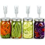 Fermentation Kit for Wide Mouth Jars - 4 Airlocks, 8 Silicone Grommets, 4 Stainless Steel Wide mouth Mason Jar Fermenting Lids with Silicone Rings (4 Set, Jars Not Included) (Color: Silver)