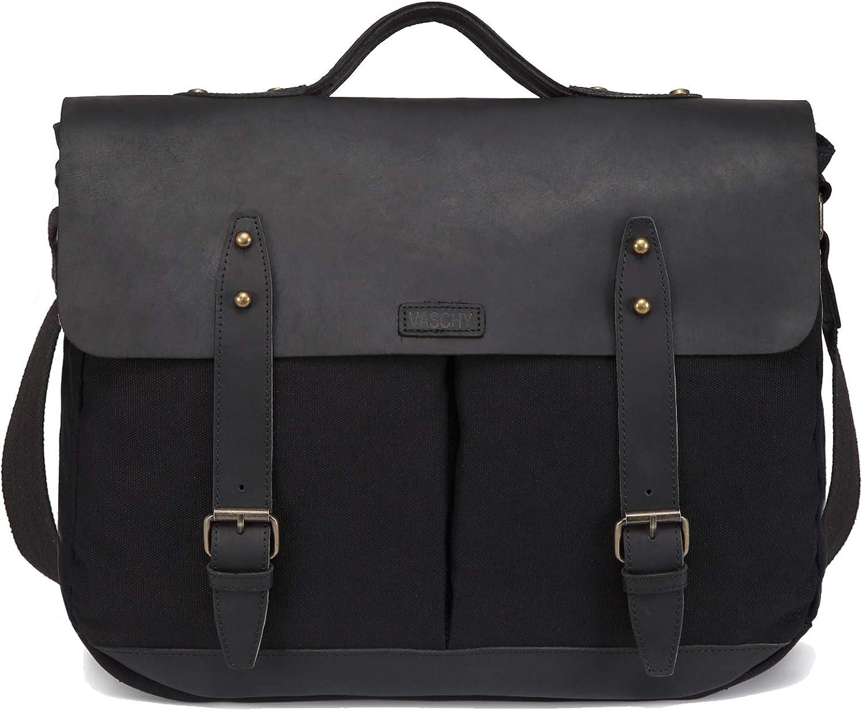 Black Leather Canvas Messenger Bag for Men,VASCHY Vintage Satchel 15.6 inch Laptop Business Briefcase Shoulder Bag with Top Lift Handle