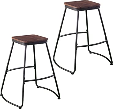 Amazon Com Southern Enterprises Roldon Barstools Matte Black And Dark Distressed Pine Furniture Decor