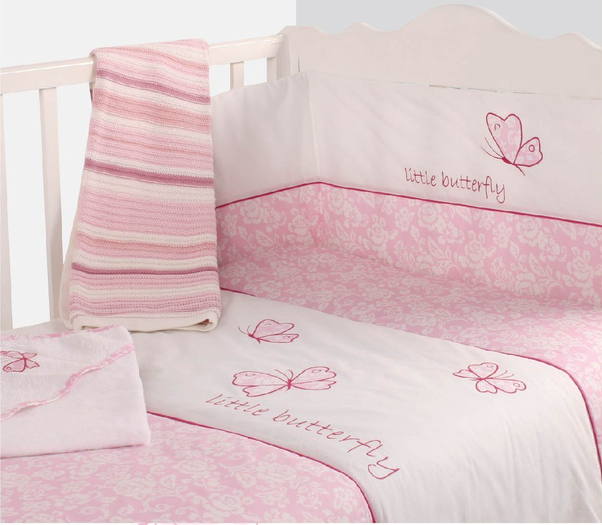 Baby girl cot bed bedding sets - Nursery Pink Butterfly Baby Bale Bedding Set Floral Print Reversible Cot Quilt And Bumper Set Polycotton Baby Cot Bed Set