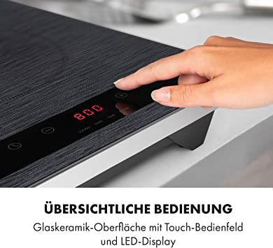 Klarstein Varicook Steel Cocina de inducción - 2 zonas de cocción, Potencia total de 3.100 W, Ajustable en 10 niveles de 200-1.300 W, 60-240 °C, Acero ...