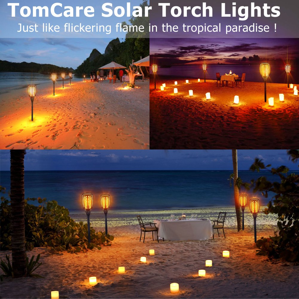 TomCare Solar Lights Upgraded, Waterproof Flickering Flames Torches Lights Outdoor Solar Spotlights Landscape Decoration Lighting Dusk to Dawn Auto On/Off Security Torch Light for Patio Driveway (4) by TomCare (Image #7)