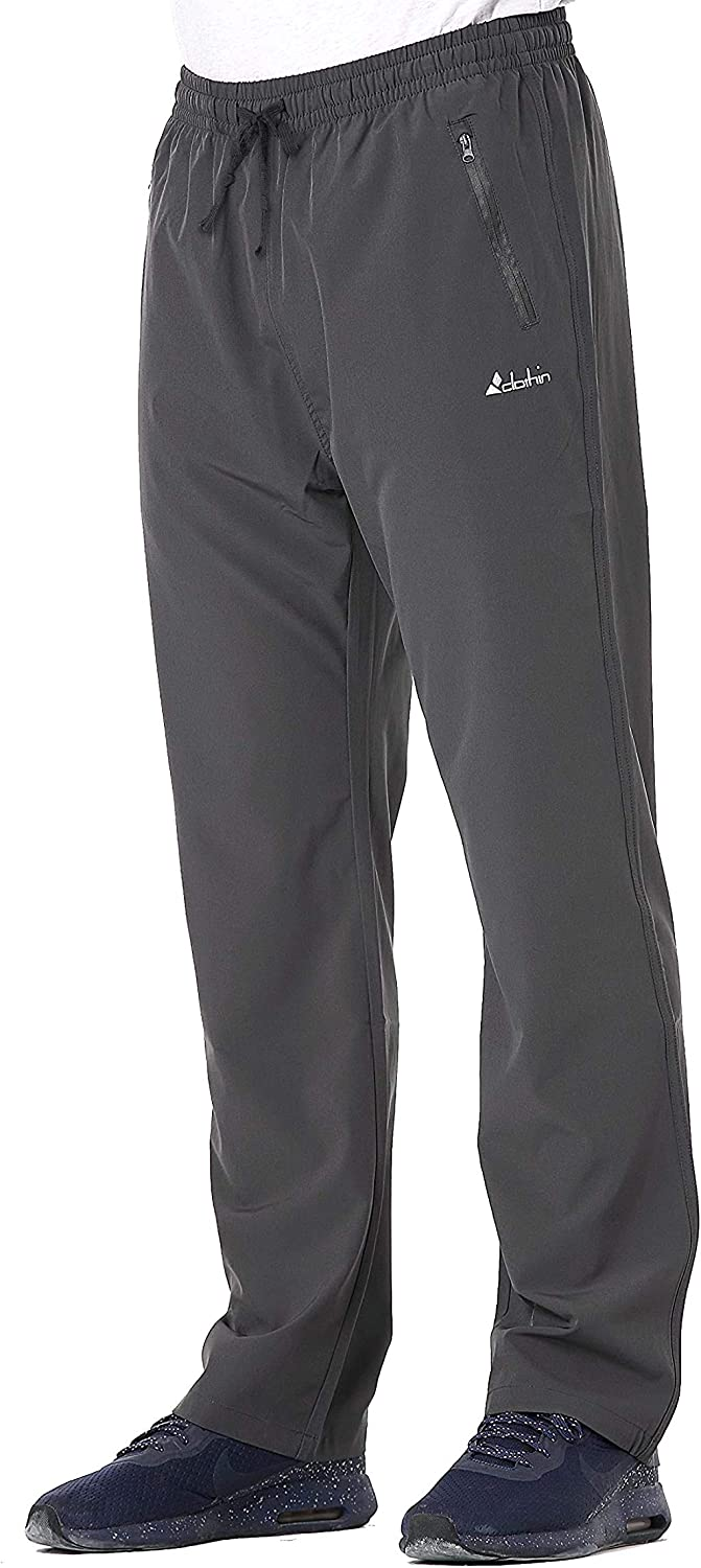 Clothin Men's Elastic-Waist Drawstring Pants for Sport Exercise Travel, Quick-Dry, Stretchy : Clothing