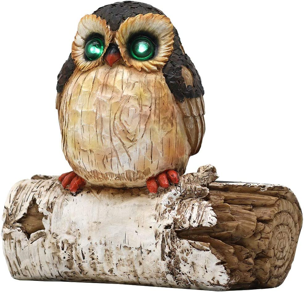 LINSBO Garden Tree Decor Owl Statue with Solar LED Eyes Lights, Outdoor Resin Sculpture Peeker Yard Art Lawn Ornaments