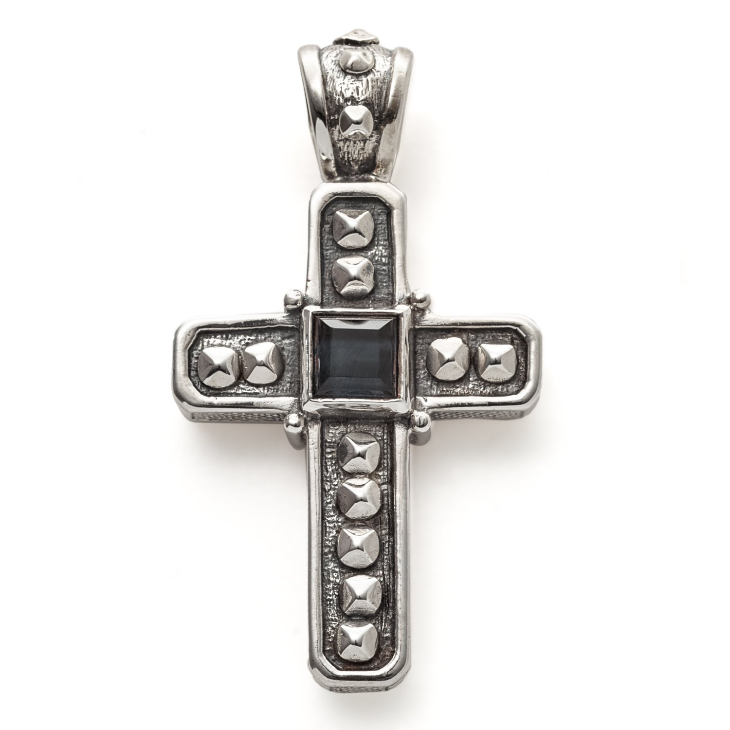 Konstantino Mens Hephaestus Collection Silver and Onyx Cross Pendant by Konstantino