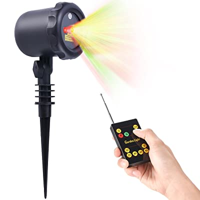 Laser Christmas Light with RF Remote Control - Waterproof Cold resistant, Outdoor and Indoor. Red and Green Star Laser Projector for Christmas
