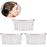 Frcolor 3pcs 7.8cm 20 Teeth Fancy DIY Metal Wire Hair Clip Combs Bridal Wedding Veil Combs Women (Silver)