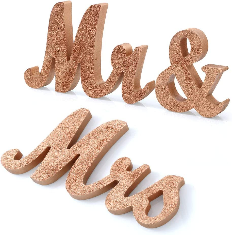 Mr and Mrs. Rose Gold Sign
