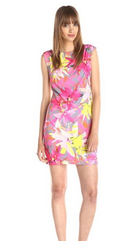 TRINA TURK Womens FELANA Floral Print Shift Dress Sz P Pink/Multi Color 220168F